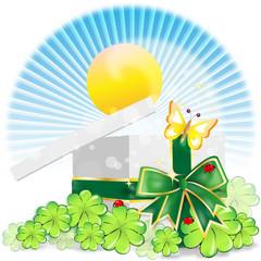 st patricks day - geschenk mit kleeblättern - schmetterling