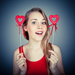 funny girl with red hearts