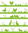 Ostern Landschafts- und Tier-Silhouette Hasen Hühner