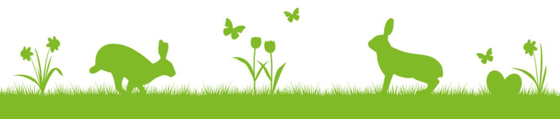 Hasen Blumen Schmetterlinge Silhouette Ostern