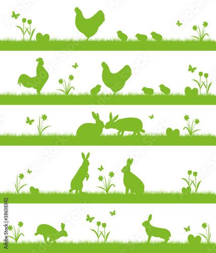 Ostern Landschafts- und Tier-Silhouette Hasen Hühner - 38638342