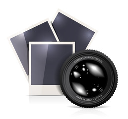 Lens with photo frame on white