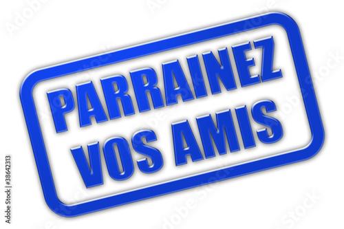 Stempel blau glas PARRAINEZ VOS AMIS