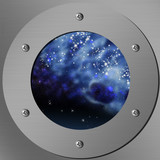porthole with a nightly sky and stars