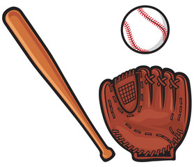 baseball glove, ball and bat