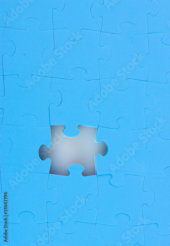 Blue puzzles closeup