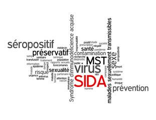 Nuage de mots-clés SIDA (préservatif mst santé prévention sexe)