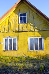 rural living homestead yellow wall house window