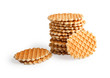 Stack Of Ruddy Waffles Isolated On White Background