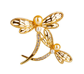 Beautiful golden brooch with precious stones isolated on white.