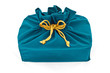 blue fabric gift bag isolated