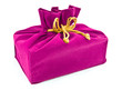 pink fabric gift bag isolated