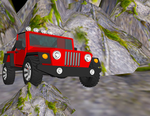 SUV on a rock