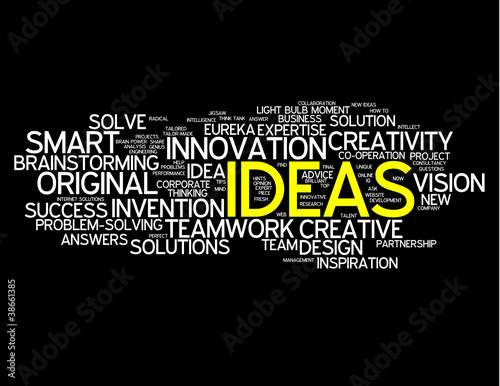 """IDEAS"" Tag Cloud (solutions problem solving smart innovation)"