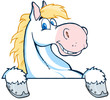 White Horse Mascot Cartoon Head