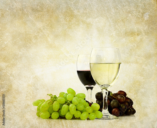 wine and grapes backdrop