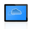 Cloud computing symbol at digital tablet
