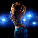 oriental Bellydancer and blue light wall
