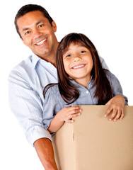 Man moving with his daughter
