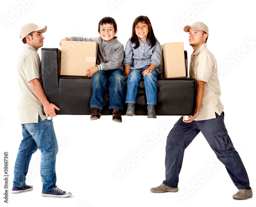 Delivery men carrying a couch