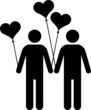 gay couple with heart-shaped balloons