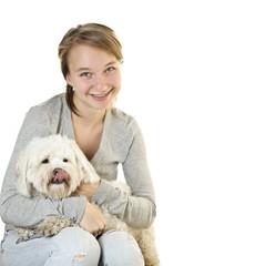 Teen girl with cute dog