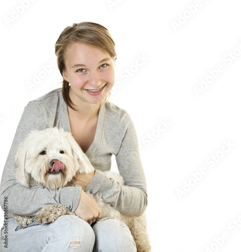 Teen girl with cute dog