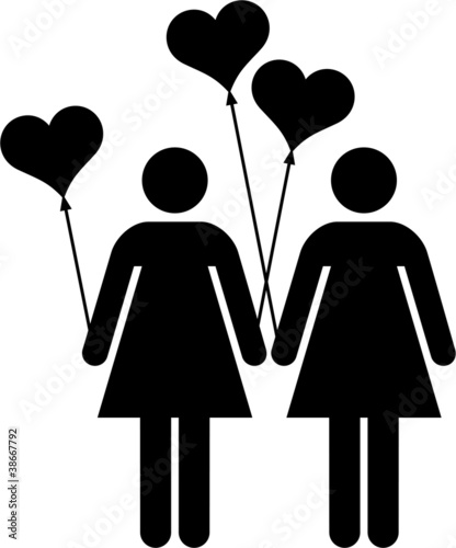 lesbian couple with heart-shaped balloons