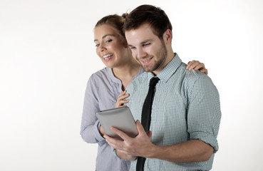 Two young people with the tablet pc
