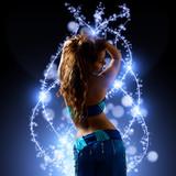 oriental Bellydancer and blue light streaks