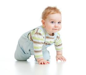 adorable boy crawls on all fours studio shot