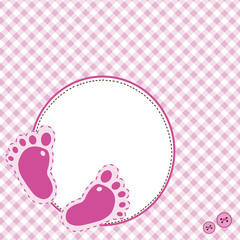 Pink background with baby footsteps