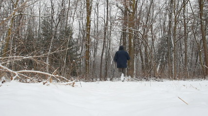 fitness training for nordic walking in the winter snow
