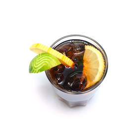 Cocktail - alcohol drink with cola, ice and lime isolated on whi