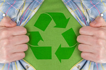 the recycle symbol on a green T-Shirt
