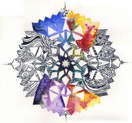 Mandala dipinto a mano: acquerelli e tratto-pen nero