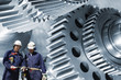 steel workers and gears machinery