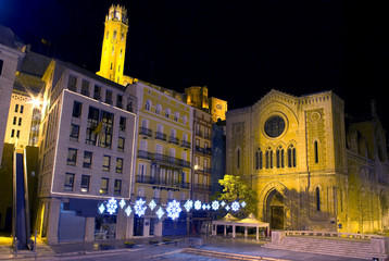 Night view of the city of Lleida