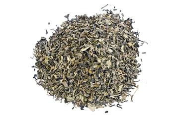 pile of green tea leaves