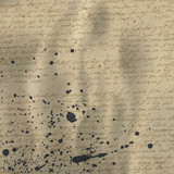 Fototapety Abstract handwriting on old crumpled vintage paper with ink splu