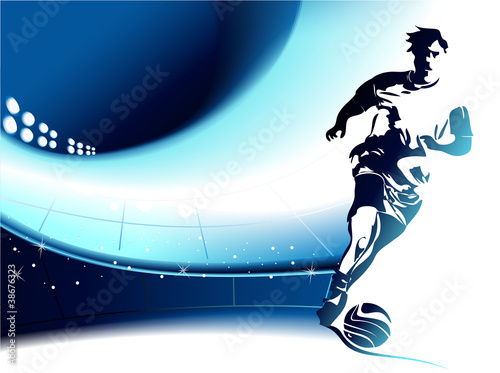 Football background wih player
