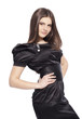Fashion beautiful girl in black dress glossy hair