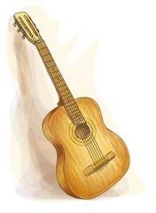 Guitar. Watercolor style.