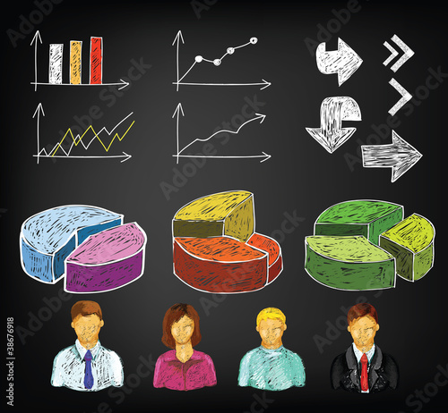 Hand draw business charts and avatars