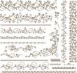 Set of vector floral elements for design.
