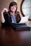 Job Interview by cheerful businesswoman