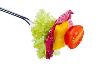 Salat auf einer Gabel