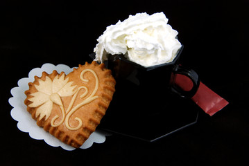 Coffee with cream and honey heart