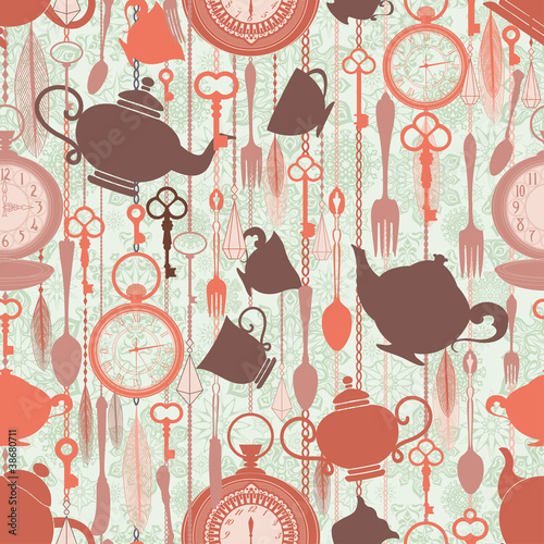 Vintage seamless pattern with tea theme