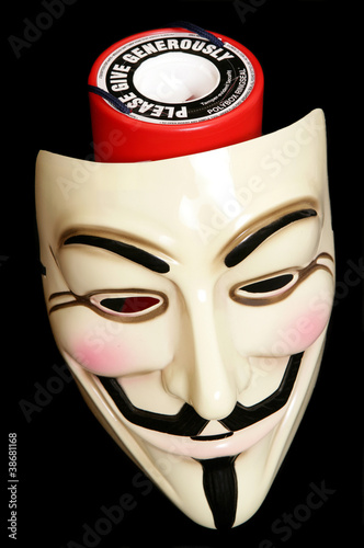 Guy fawkes mask with cahrity collection